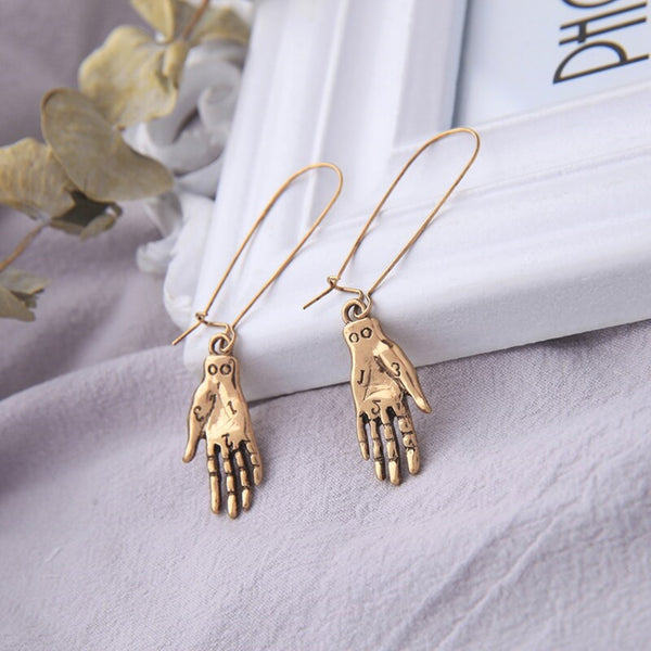 Punk Style Golden Hands Ear Hook Style Drop Earrings