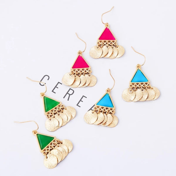 Bohemian Blue & Red Triangle Acrylic Golden Tassel Drop Earrings