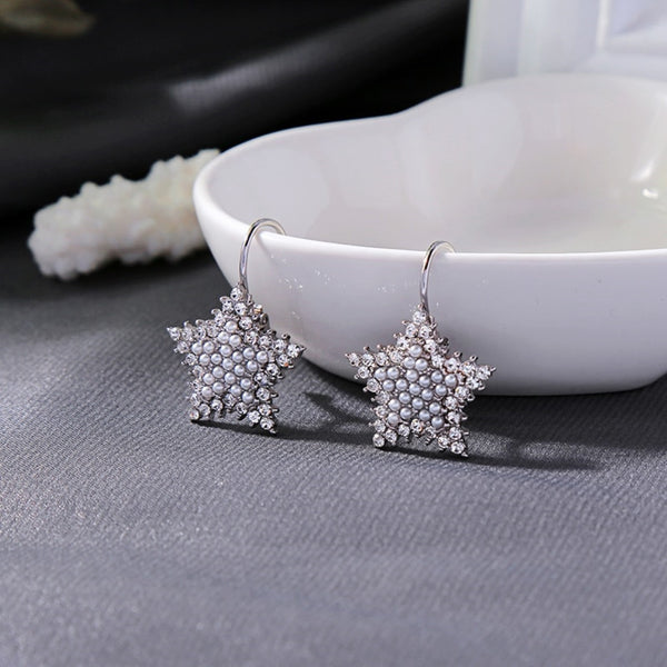 Imitation Pearls Resin Bead Star Earring