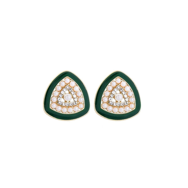 Luxury Imitation Pearl Green Enamel Triangle Earrings