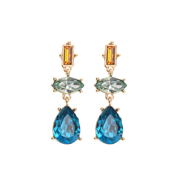 Blue Glass Crystal Water Drop Earring