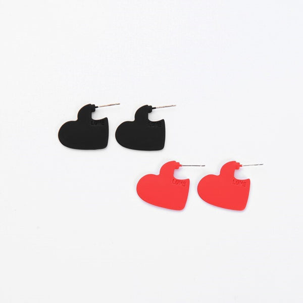 Simple Red & Black Coating Heart Stud Earrings
