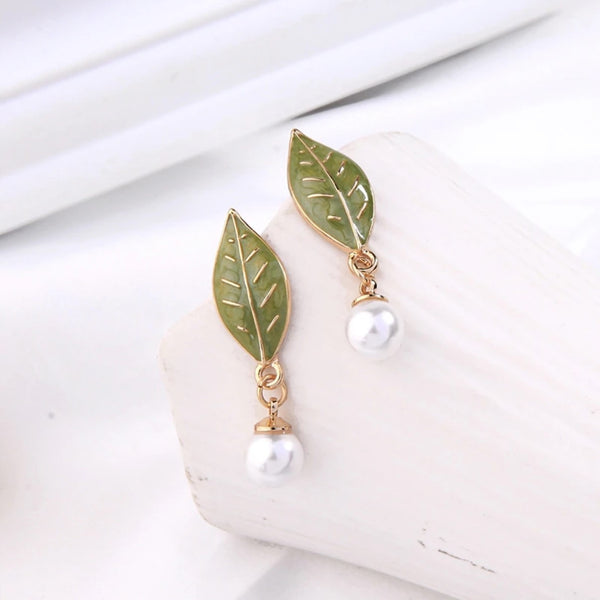 Green Enamel Leaf Pearl Drop Earring