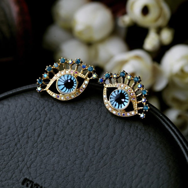 Gold Color Evil Eyes Stud Earrings