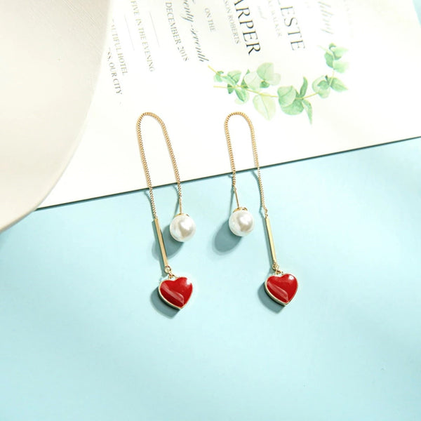 Red Heart Needle Drop Dangle Earrings