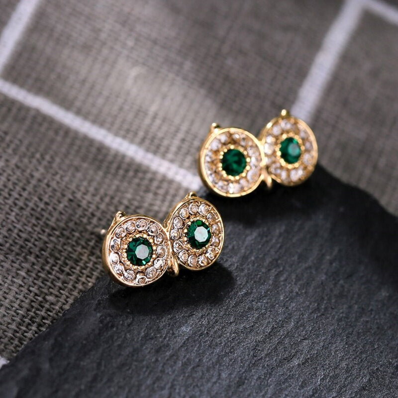 Cute Green Crystal Owl Eyes Stud Earrings