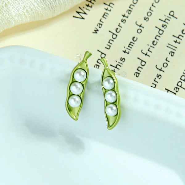 Golden and Green Color Pea Imitation Pearl Stud Earrings