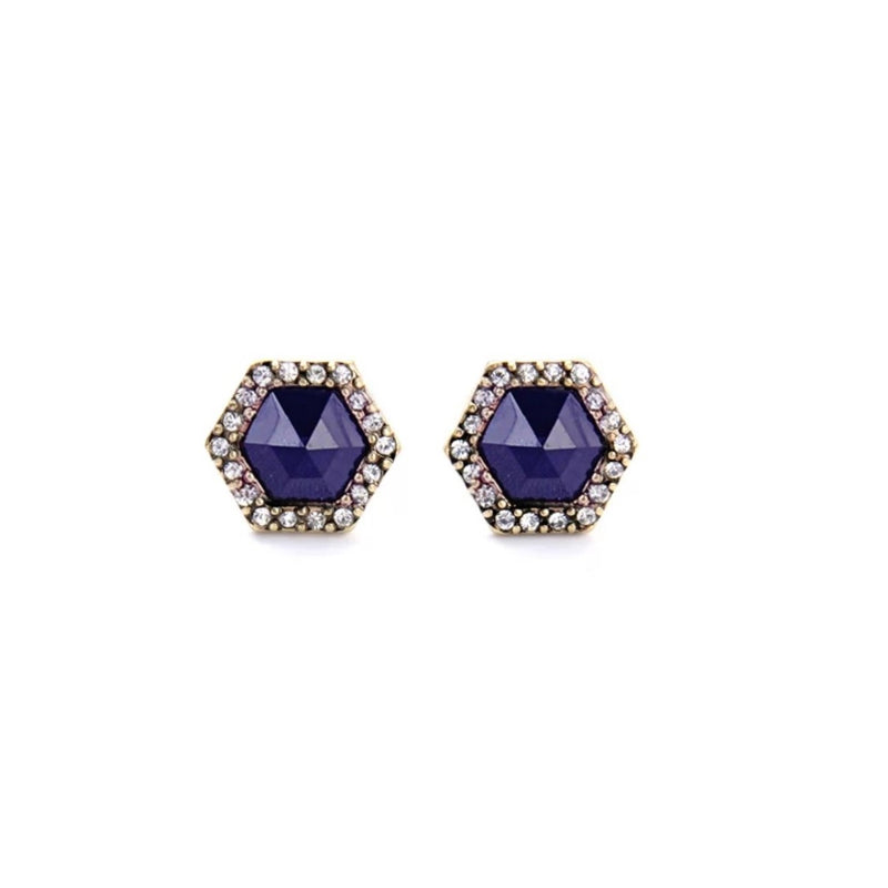 Antique Gold Color Dark Blue Crystal Stud Earrings