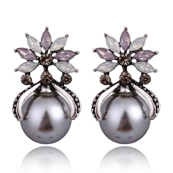 Vintage Rhinestone Crystal Big Pearl Earrings - 2 Colors - [neshe.in]