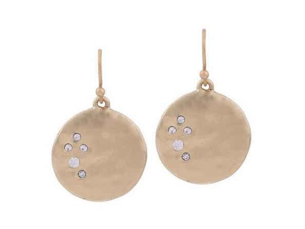 Antique Round Shaped Shiny Crystals Gold Dangle Earrings - [neshe.in]