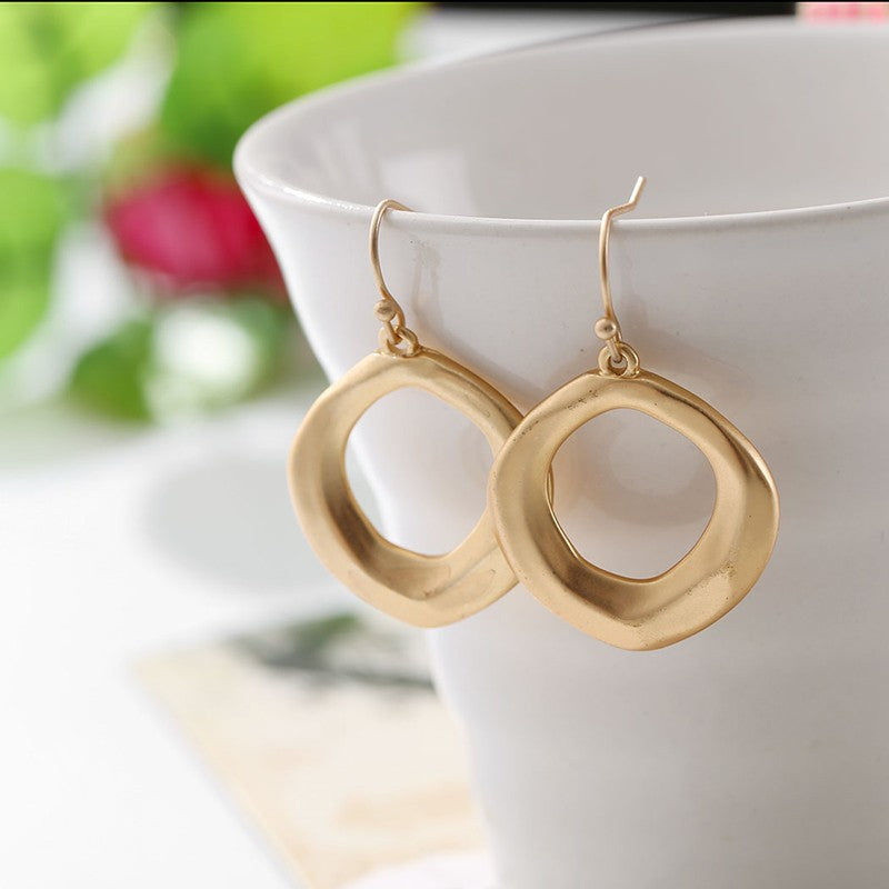 Hollow Circle Gold-color Earring Alloy Drop Earrings - [neshe.in]