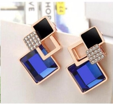 Geometric Square Crystal Stud Drop Earrings - 7 Colors / Styles - [neshe.in]