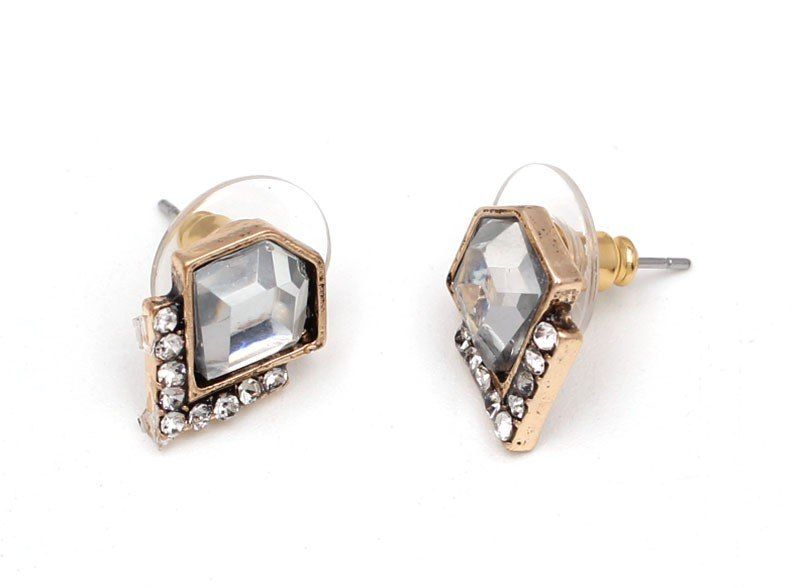 Retro Exquisite Geometric Gem Stud Earrings - 3 Colors - [neshe.in]