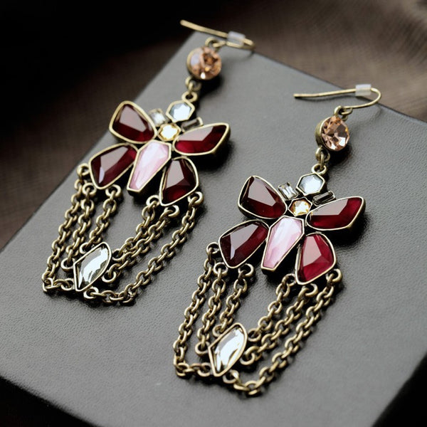 Antique Gold Butterfly Crystal Tassel Earrings - [neshe.in]