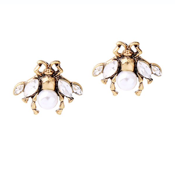 Crystal Pearl Bee Stud Earrings - [neshe.in]