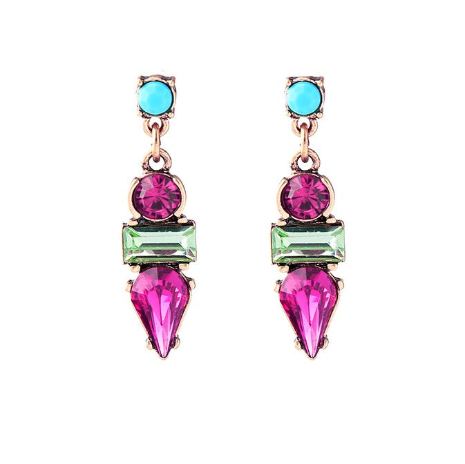 Crystal Resin Geometric Stud Earring - Magenta Pink - [neshe.in]