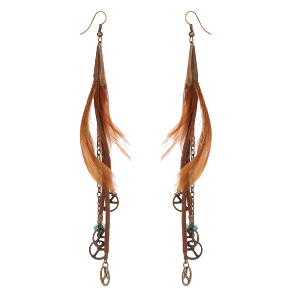 Top Quality Long Feather Coffee Earrings - [neshe.in]