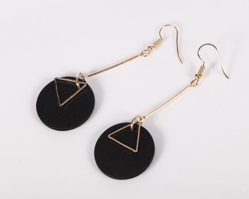 Wood Round Triangle Alloy Tassel Dangle Earring - [neshe.in]