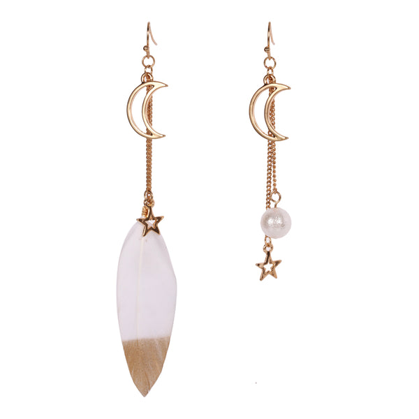 Retro Style White Feather Moon Asymmetric Earrings - [neshe.in]