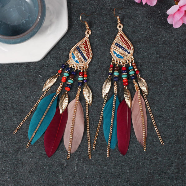Feather Dangle Trendy Water Drop Indian Earrings - 3 Colors - [neshe.in]