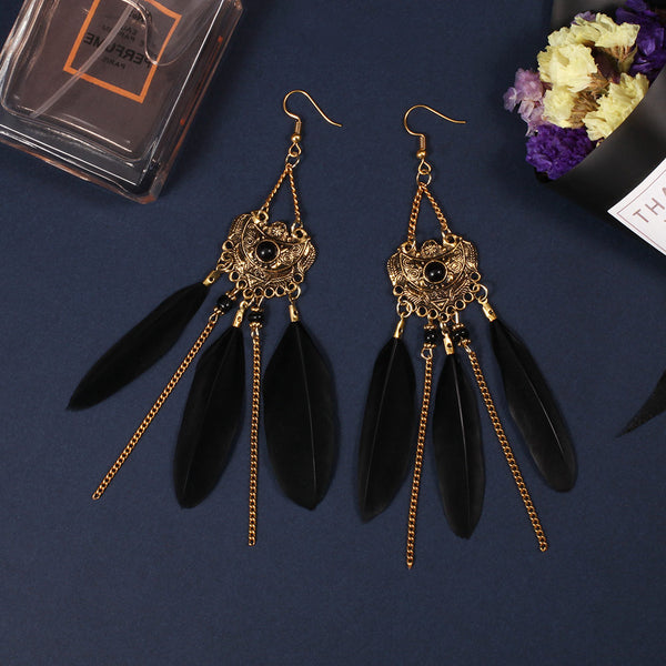 Chain Feather Drop Classic Earrings - 2 Colors - [neshe.in]