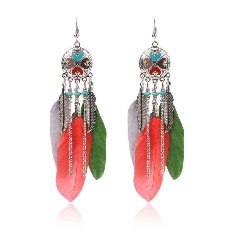 New Long Bohemian Feather Dangle Earrings - 2 Colors - [neshe.in]