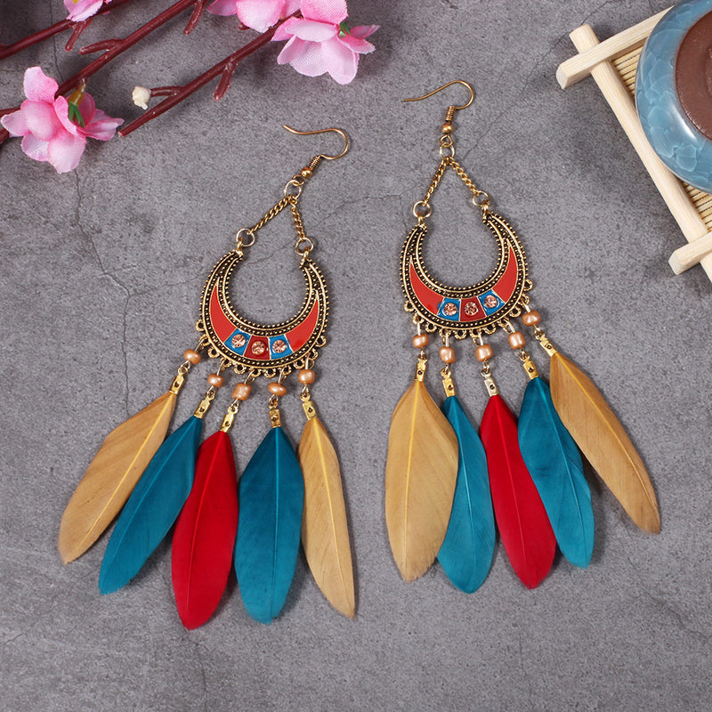 Bohemian Style Long Dangle Feather Earrings - 2 Colorful Options - [neshe.in]