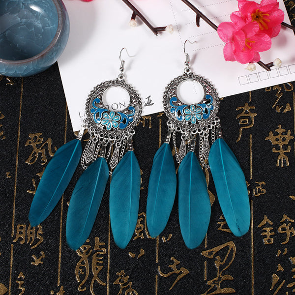 Long Feather Drop Earrings - 3 Colors - [neshe.in]