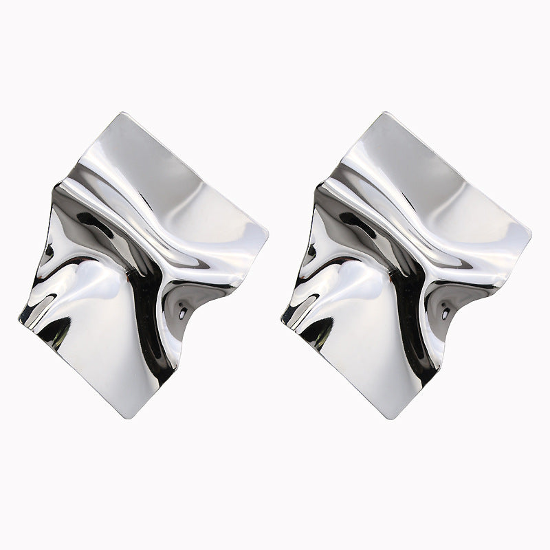 Irregular Surface Shiny Metal Punk Rock Stud Statement Earrings - 2 Colors - [neshe.in]