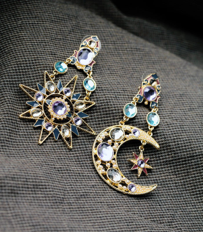 Big Exaggerated Sun And Moon Drop Earrings - [neshe.in]