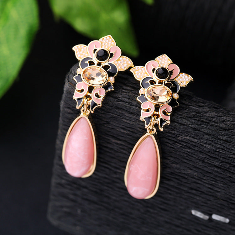 Pink Resin Water Drop Earrings Wedding Jewelry - [neshe.in]