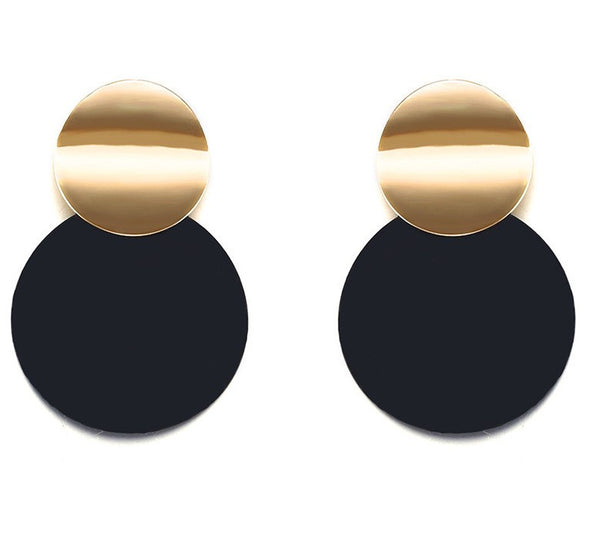 Black Stud Earrings Trendy Gold Color Round Earrings - [neshe.in]