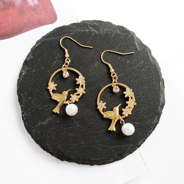 Simple Cute Pearl Drop Golden Bird Earring - [neshe.in]