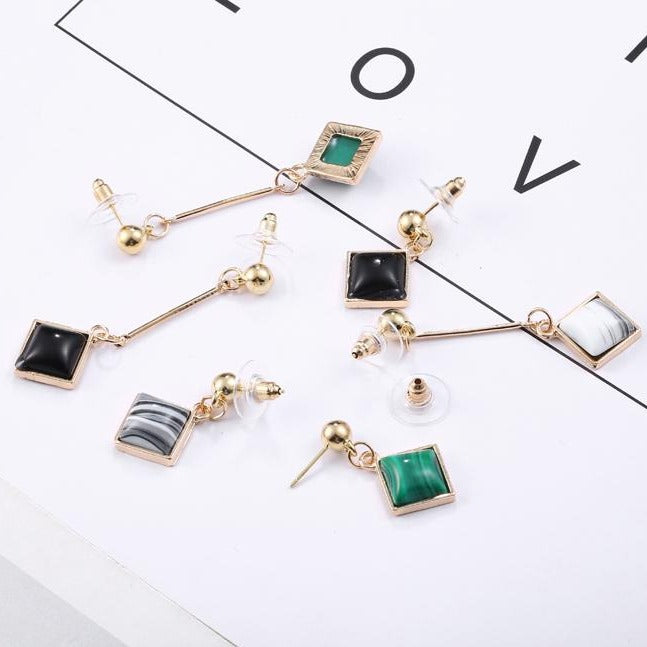 Square Rhinestone Asymmetrical Drop Earrings - [neshe.in]