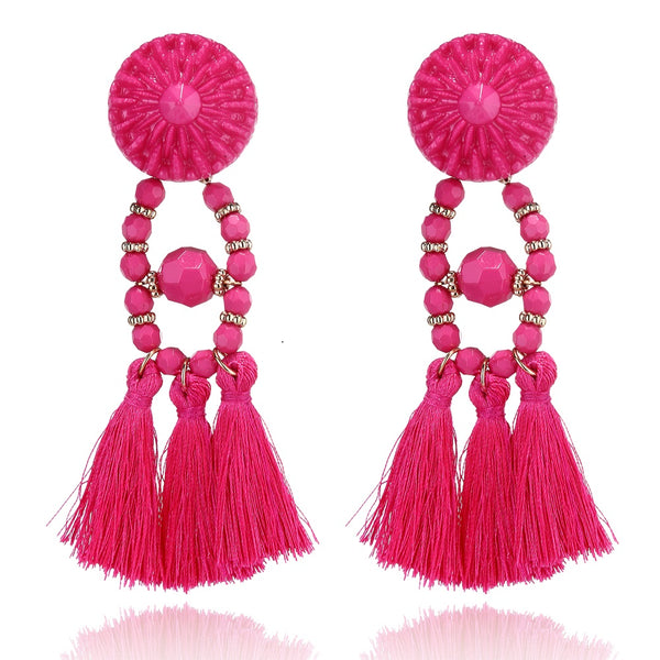 Acrylic Big Round Tassel Earring - 6 Colors - [neshe.in]