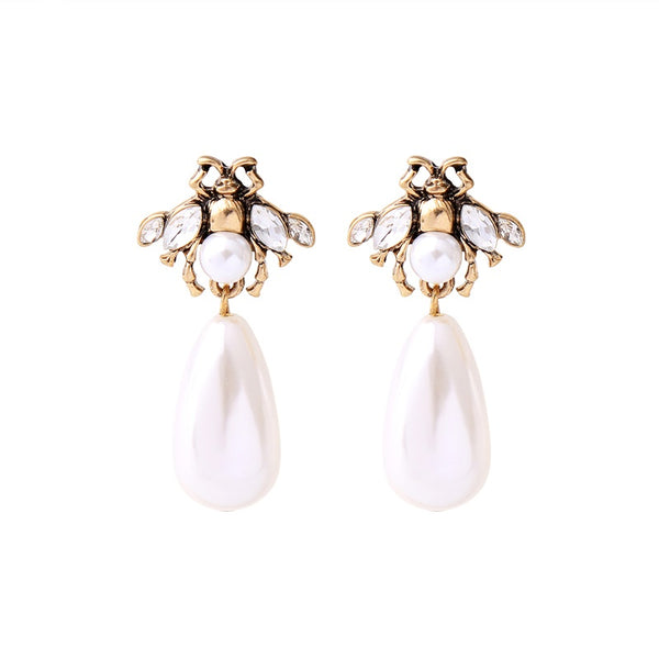 Pearl Earrings Teardrop-Honey Bee Earrings - [neshe.in]