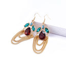 Trendy Layered Chain Drop Earrings Wedding Jewelry - [neshe.in]
