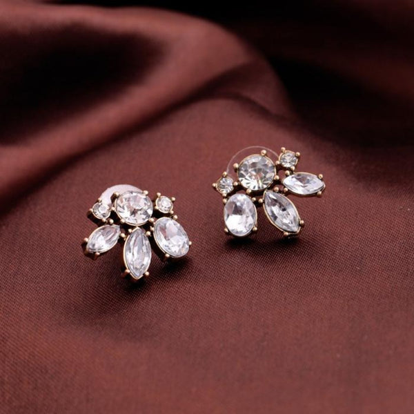 Antique Golden Crystal Petals Stud Style - [neshe.in]