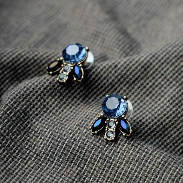 Blue Crystal Style Stud - [neshe.in]