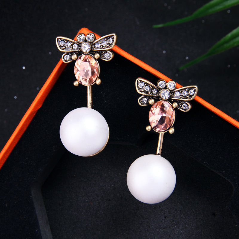 Pearl Drop Crystal Dragonfly Drop Dangle Earring - [neshe.in]