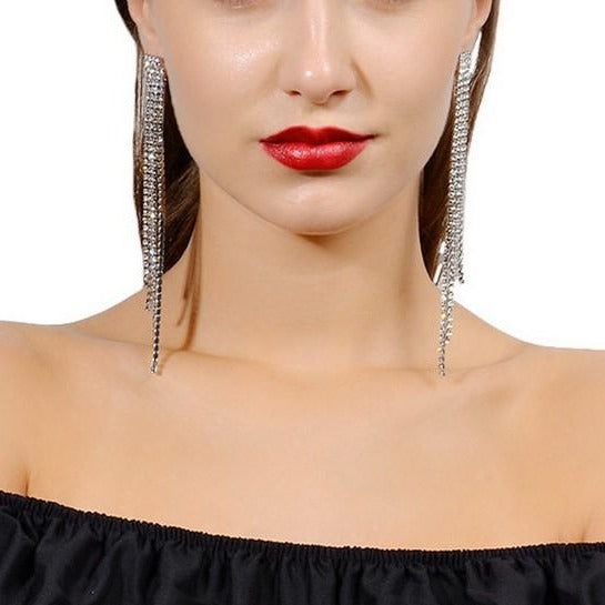 Exaggerated Long Tassel Rhinestone Dangle Earrings - 2 Colors - [neshe.in]