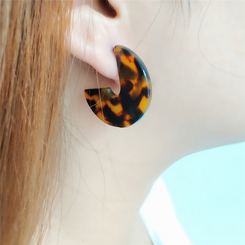 Round Acrylic Brown Hoop Earring - [neshe.in]
