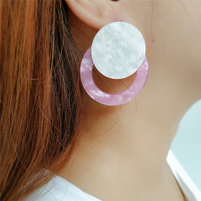 Round Circle Candy Color Acrylic Earrings - 4 Colors - [neshe.in]