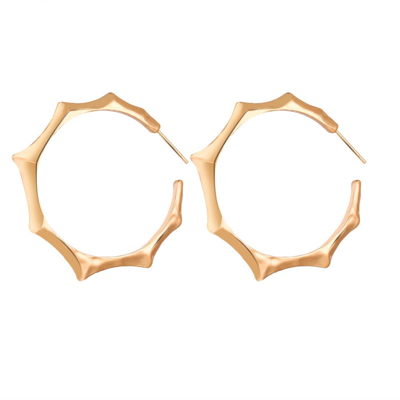 Solid Gold Bamboo Hoop Earrings - [neshe.in]