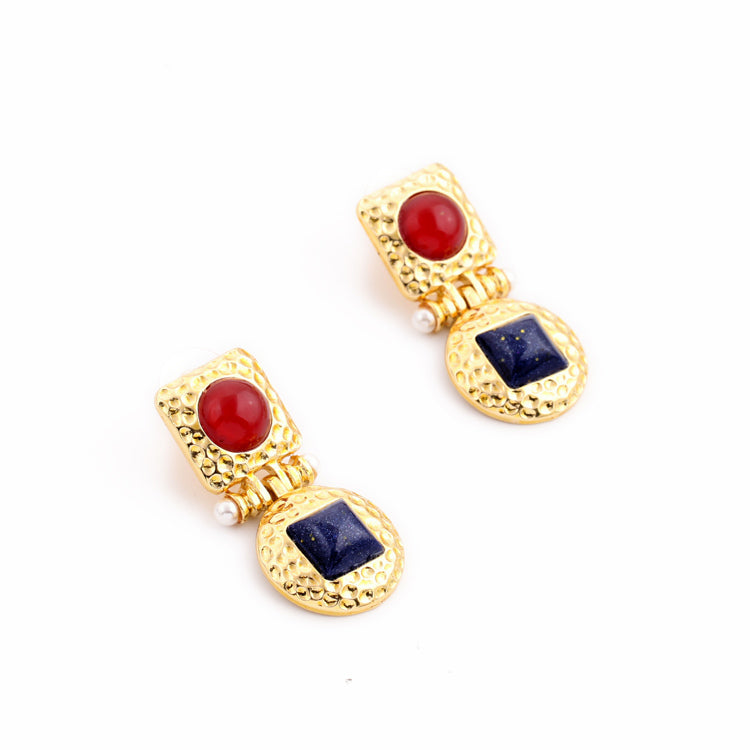 Red & Blue Resin Gold Statement Stud Drop Earring - [neshe.in]