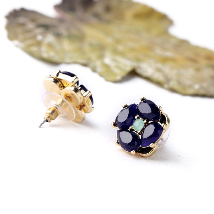 Classic Elegant Blue Crystal Flower Stud Earrings - [neshe.in]