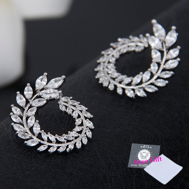 Oval CZ Crystal Statement Hoop Studs - 2 Colors - [neshe.in]