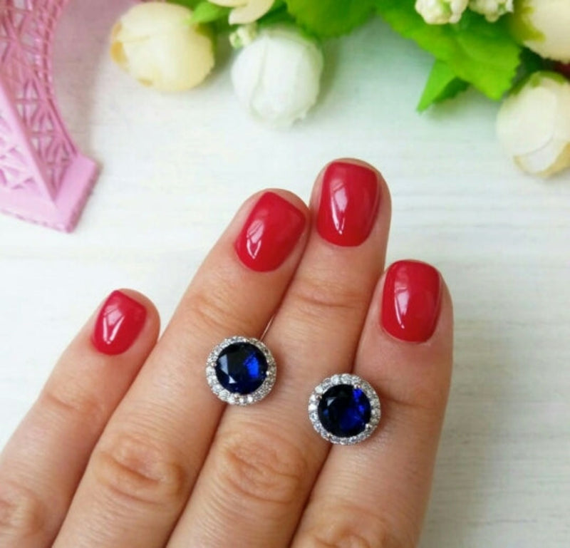 Classic Round CZ Crystal Stud Earrings - 8 colors - [neshe.in]