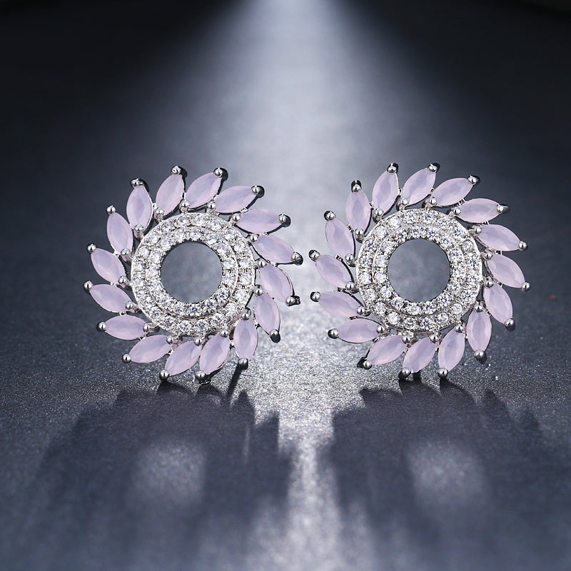 Luxury Round CZ Crystal Stud Earrings - 6 Colors - [neshe.in]