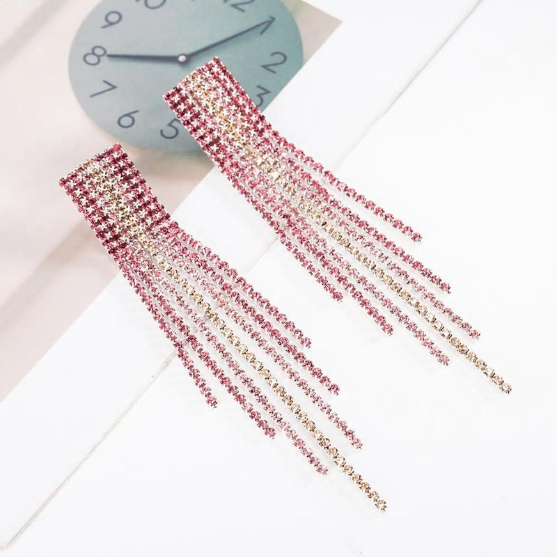 Rhinestone Long Tassel Party Earrings - 4 Styles - [neshe.in]
